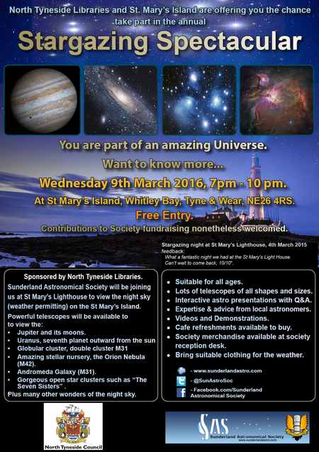 Sunderland Astronomical Society 9th March Stargazing