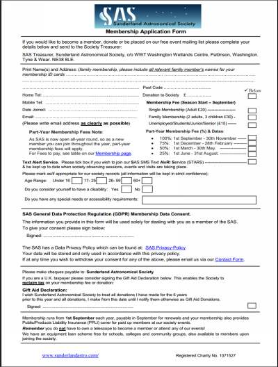 Sunderland Astronomical Society | Membership